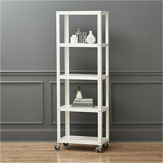 We would need 2 of these... go-cart white five-shelf rolling bookcase  | CB2