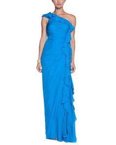 Badgley Mischka Ocean Ruffled Silk One-Shoulder Gown .  $170 on Rue La La.