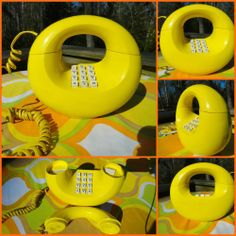 VTG MOD Retro Yellow Donut Sculptura Western Electric Telephone Phone Eames Era