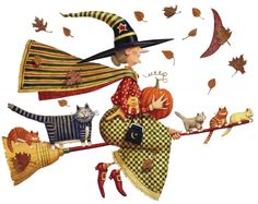 Folk art style witch taking a spin with her cats on her broom .... Halloween
