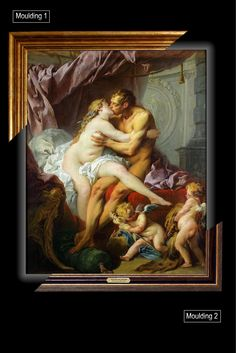 Canvas framed print, François Boucher Hercules and Omphale, giclee canvas, gold framed, nameplate, Unique gift for husband