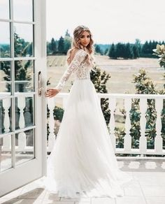 Elegant White Lace Wedding Bridal Dress,Long Sleeves Wedding Gown,Lace Chiffon Backless Sexy Bridal Dress #weddingdress