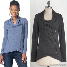 Make this zip top by McCall's in a knit. Or, try a stretchy faux leather like the similar-style top we saw at Zara this weekend. #m7199 #mccallpattern #sewthelook |  Inspo jacket from Modcloth