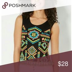 Neon Aztec Tassle Tank Top NWT Liven things up in your wardrobe with this trendy tank top. It's made from breathable flat knit that sports colorful Aztec screen prints across the front. This casual look is complete with tassel tie trim along the hemline. Brand New size XL Tops Tank Tops