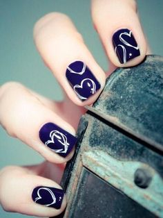 Pretty Short Nail Design with Hearts