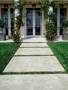 lovely home hall - stamped #concrete path http://www.idealwork.com/Stamped-concrete-Features-and-benefits.html