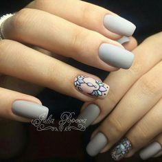 Shades of grey Love Nails, Pretty Nails, Mandala Nails, Nails 2018, French Tip Nails, Stylish Nails, Beautiful Nail Art, Manicure And Pedicure, Spring Nails