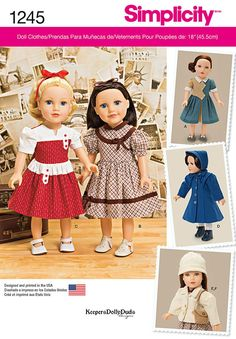 Simplicity Pattern 1245OS One Size -Doll Clothes
