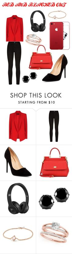 """""""RED AND BALKED OUT"""" by josh1847 ❤ liked on Polyvore featuring ESCADA, Paige Denim, Liliana, Dolce&Gabbana, Beats by Dr. Dre, West Coast Jewelry and David Yurman"""