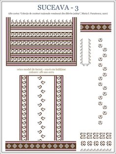 Semne Cusute: iie de BUCOVINA, model 3 Embroidery Sampler, Folk Embroidery, Embroidery Patterns, Cross Stitch Patterns, Palestinian Embroidery, Simple Cross Stitch, Costume Patterns, Beading Patterns, Pixel Art
