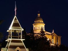 Old Town Auburn firehouse and courthouse @ night