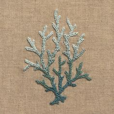 Coral Knot Blue<br>Hand Towel - Natural Linen