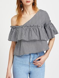 ¡Cómpralo ya!. Bardot Asymmetric Frill Trim Checkered Top. Black and White Cute Sexy Off the Shoulder Short Sleeve Cotton Plaid Layered/Tiered Ruffle Fabric has no stretch Summer Blouses. , tophombrosdescubiertos, sinhombros, offshoulders, offtheshoulder, coldshoulder, off-the-shouldertop, schulterfreiestop, tophombrosdescubiertos, topdosnu, topspallescoperte, hombrosdescubiertos. Top hombros descubiertos  de mujer   de SheIn.