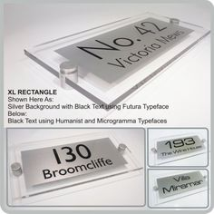 XL Rectangle Acrylic House Name Plaques & Modern Glass Acrylic Address Nameplate By De-signage