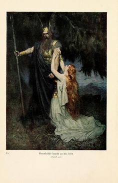 Brunhilde knelt at his feet (1915), lithograph by Ferdinand Leeke (1859-1937) [published in The Stories of Wagner's Operas, frontispiece], from Act 3, Scene 2, of Die Walküre (1856), by Richard Wagner (1813-1883).