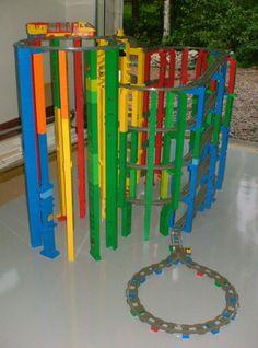 Lego Duplo train track - Love the colors! Lego Activities, Toddler Activities, Lego Duplo Train, Kids Indoor Play, Construction Lego, Lego Club, Lego Craft, Lego Minecraft, Lego Lego