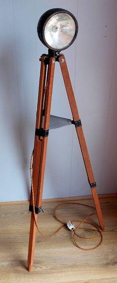 Vintage Industrial upcycled Car Headlight on Telescope Tripod Standard Lamp