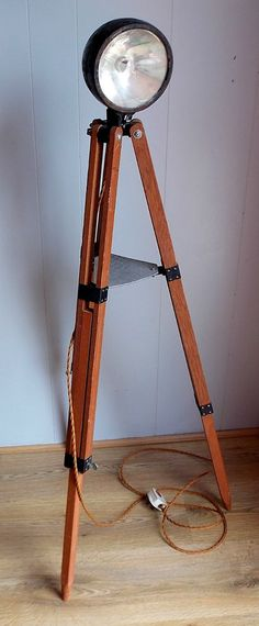 Vintage Industrial upcycled Car Headlight on Telescope Tripod Standard Lamp