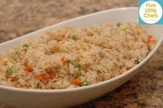 Fried Rice is one of our favorite go to sides. We always have the ingredients and the Little Chefs eat it without complaints.