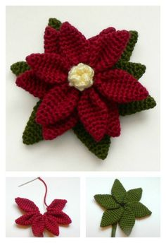 Crochet Poinsettia Flower Free Patterns | Just beause it's winter doesn't mean you have to put away your crochet flower patterns!