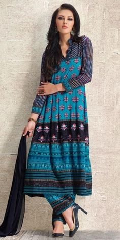 Elegantly Blue And Black Anarkali Suit.