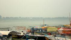Colourful boats along the banks