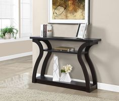 b94968ccb31 Entryway Console Table Wood Curved Cappuccino Wooden Rectangle Shelves  Furniture  Monarch  Contemporary Couleur Cappuccino