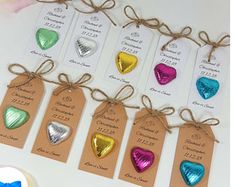 Love Is Sweet - Chocolate Heart Wedding Favours - Personalised Chocolate Sweet Favours - Guest Favours - Thank You Tags - Birthday Party Personalised Chocolate, Chocolate Hearts, Thank You Tags, Bar Mitzvah, Diy Table, Wedding Favours, Love Is Sweet, Favors, Place Card Holders