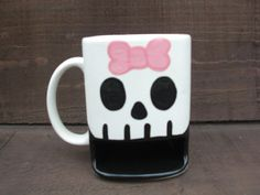Spooky Skull Ceramic Cookies and Milk Dunk Mug  Lady by InAGlaze, $23.50