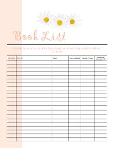 fre reading list printable 21 lines so a double sided works perfect in my planner for my 52 books in 2014 challenge