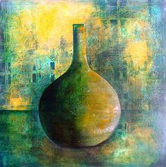 #green bottle | Acryl auf Leinwand 60x60 cm von Birgit.Riemann Painted Glass Bottles, Green Glass Bottles, Vase Vert, Pencil Painting, Pastel Art, Flower Wallpaper, Texture Painting, Vases, Diy Art