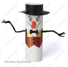 Игрушка Мастер-класс Новый год Бумагопластика Снеговик-артист Бумага
