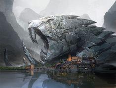 numen village by j c park Quantum Dreams: The Art of Stephan Martiniere Fantasy Art Landscapes, Fantasy Landscape, Landscape Art, Environment Concept Art, Environment Design, Fantasy Places, Fantasy World, Bg Design, Fantasy Concept Art