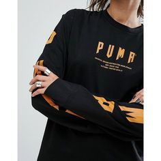 Puma Exclusive To ASOS Statement Oversized Long Sleeve T-Shirt ($38) ❤ liked on Polyvore featuring tops, t-shirts, long sleeve crew tee, crewneck t shirt, long sleeve tees, long sleeve oversized tee and crew t shirts