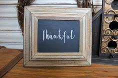 Thankful Wood Sign, Fall Decor, Fall Sign, Rustic Fall Sign, Framed Sign, Thanksgiving Sign, Rustic Frame, Simple Sign, Distressed Oak Frame by TinSheepShop on Etsy