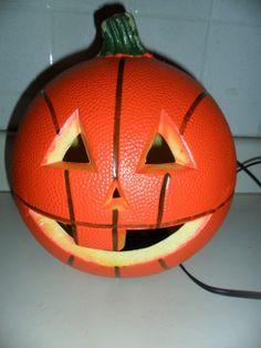 Halloween Basketball Carved Pumpkin Light Decoration