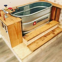 Remember my bathtub… it works and I am loving my bubbles! Rustic Bathroom Designs, Rustic Bathrooms, Rustic Renovations, Home Remodeling, Galvanized Bathtub, Outdoor Tub, Outdoor Showers, Barn Wood Decor, Tiny House Bathroom