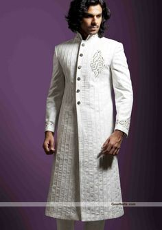 Sherwanis:R1P413 | Decent Looking Off White Shade Front Opening Sherwani