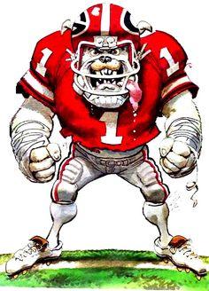 Jack Davis - this Dawg is ready for battle! Georgia Bulldog Wreath, Georgia Bulldog Mascot, Georgia Bulldogs Football, Cãezinhos Bulldog, Aigle Animal, Jack Davis, Georgia Girls, Sports Art, Fans Sports
