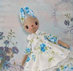 OOAK stuffed doll animal bunny rabbit, ooak art rag interior doll, bunny stuff toy