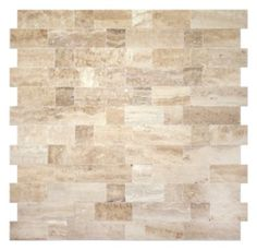 A warm honey toned mosaic made from natural travertine.  Each piece is tightly fit so that no grout is needed once installed.  Perfect for a kitchen backsplash.