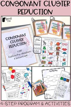 4-step program for the phonological process of consonant cluster reduction. Includes parent handouts, SLP information, multi-level activities, homework, screener, and so much more! Click for more info.