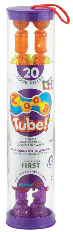 Non candy #Easter basket filler: #ZOOBToys Tall and skinny 20 piece tube
