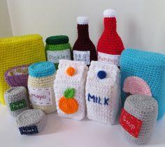 Voedsel haak patroon  dozen flessen blikjes door CrochetNPlayDesigns
