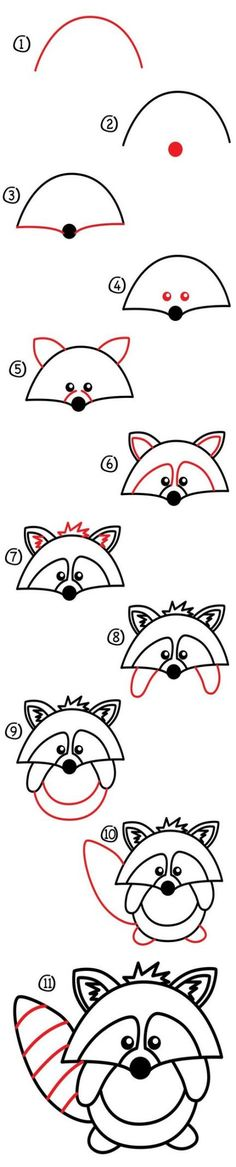 Heres a cute little guy how to draw a raccoon! This one is easy but still fun even for those parents and teachers that like to draw along with their kids. Art Materials Pen pencil crayon or marker Paper Watch How To Draw A Raccoon Cartoon Kunst, Cartoon Drawings, Animal Drawings, Cartoon Art, Doodle Drawings, Doodle Art, How To Draw Doodle, Drawing Lessons, Art Lessons
