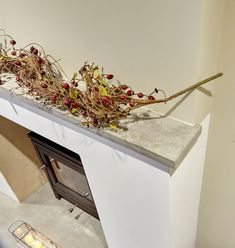 Polished concrete hearth and matching mantle with horn detail and return details hooking the chimney breast. Chimney Breast, Fire Surround, Hearths, Concrete Design, Polished Concrete, Mantle, Horn, Traditional, Detail