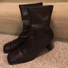 Brown boots Really nice brown boots with soft leather feel.  About a 4 inch heel.  Really nice condition with a slight scuff on back right heel.  You can see in the pictures.  Aero souls for extra comfort. A2 Shoes Ankle Boots & Booties