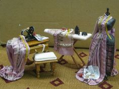 D104 Dollhouse Old Fashioned Sewing Set 4 Pce 1/12 scale