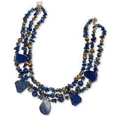 """Lapis Petal Necklace   King Ranch Once valued more that gold, brilliant blue lapis lazuli was cherished by Egyptian queens as a symbol of fidelity and truth. Today, this ancient treasure combines with shining beads of tiger's eye and gold vermeil to make a thoroughly modern statement of confident chic. Triple strand necklace from native Texas jewelry designer Paige Wallace adjusts from 18½"""" to 19½"""" length. #kingranch #Texas #southernstyle #jewelry #womens"""