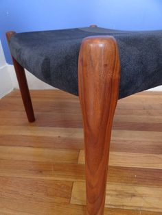 Mid Century Moller Ottoman/Footstool made in Denmark - Teak with Black Suede Leather Original Upholstery